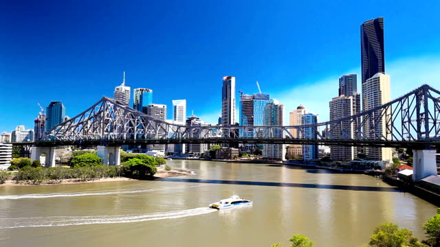 BRISBANE, AUS - SEPTEMBER 9 2015: Panoramic view of Brisbane Skyline with Story Bridge and the river. It is Australias third largest city, capital of Queensland. video