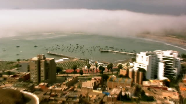 Panoramic view of Chorrillos beach harbor in Lima Peru video