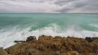 Panoramic view of coastline and beach video