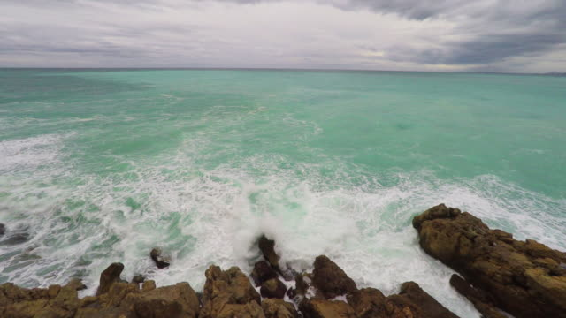 Panoramic view of coastline and beach video