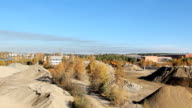 Panoramic view of construction area with lots of stones video