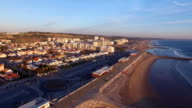 Panoramic view of Costa Caparica Portugal aerial view video