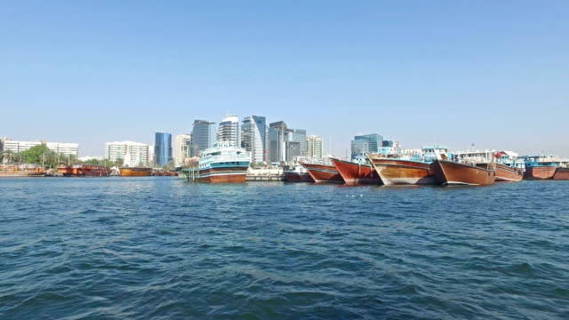 Panoramic view of Dubai from The Creek river video