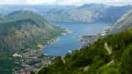 Panoramic view of Kotor Bay surrounded by mountains, Montenegro video