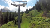 Panoramic view of Langkofel from chair-lift video