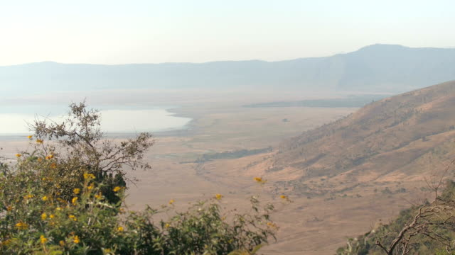 AERIAL: Panoramic view of Ngorongoro volcanic caldera from the top of the rim video