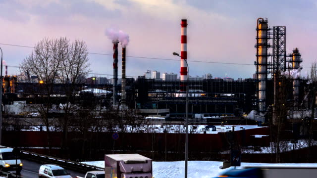 Panoramic view of oil refinary time lapse video