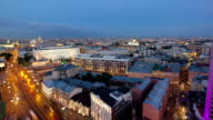 Panoramic view of the building from the roof of center Moscow timelapse, Russia video