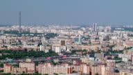 Panoramic view of the building from the roof of Moscow International Business Center timelapse, Russia video