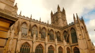 Panoramic view of the Gothic cathedral in Bath, UK video