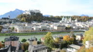 Panoramic view of the historic city Salzburg with Fortress Hohensalzburg video