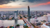Panoramic view of urban landscape in Bangkok Thailand. Time lapse video