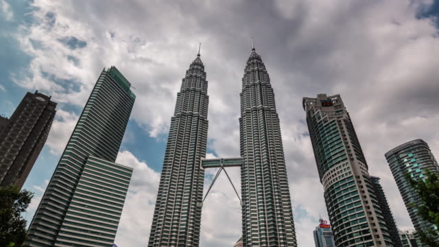 panoramic view on famous towers 4k time lapse from kuala lumpur video