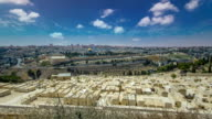Panoramic view on Jerusalem timelapse hyperlapse with the Dome of the Rock from the Mount of Olives video