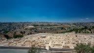 Panoramic view on Jerusalem timelapse with the Dome of the Rock from the Mount of Olives video