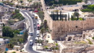 Panoramic view on Jerusalem timelapse with traffic on the road from the Mount of Olives video