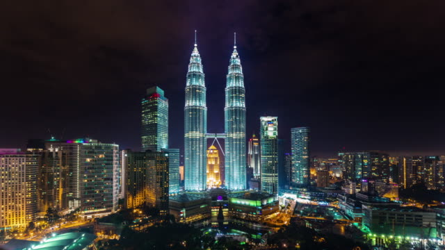 panoramic view on towers 4k time lapse from kuala lumpur video