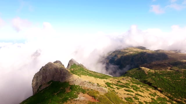 Panoramic view Pico do Arieiro, Madeira aerial view video