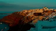 Panoramic View Santorini Cliff and Aegean Sea at Dawn video