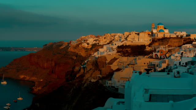 Panoramic View Santorini Cliff and Aegean Sea at Dawn video