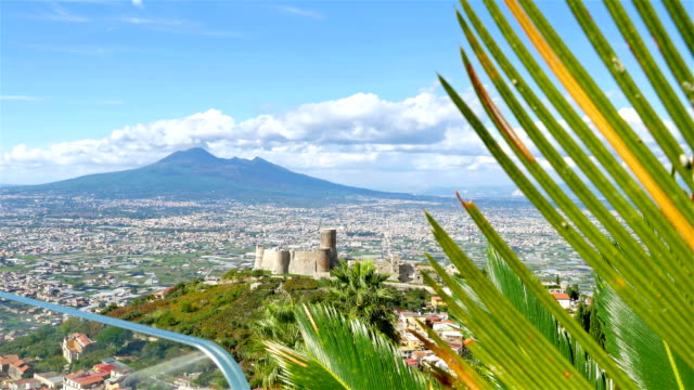 Panoramic view to Pompei valley, gulf of Naples and Mount Vesuvius video