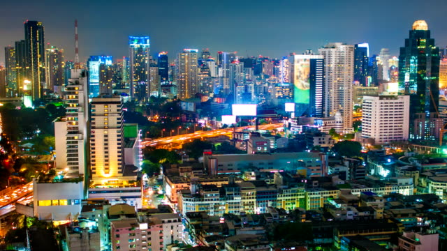 Panoraminc view of urban landscape at night. Timelapse video