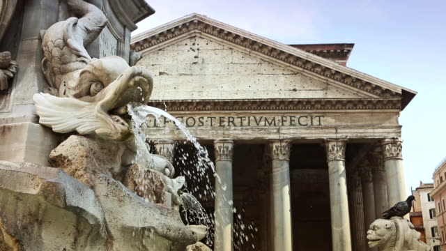 Pantheon Fountain in Rome, panning video video