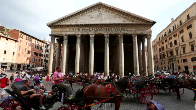 Pantheon Temple in Rome and botticella horse video
