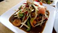 Papaya salad and Thai traditional food video