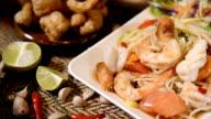 Papaya salad seafood or somtom seafood video