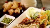 papaya salad Thai Famous Thai food, ( Som tum thai) video