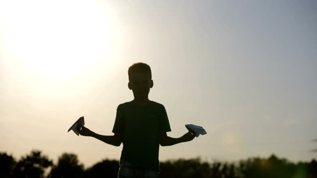 Paper Airplane In Child Hand video