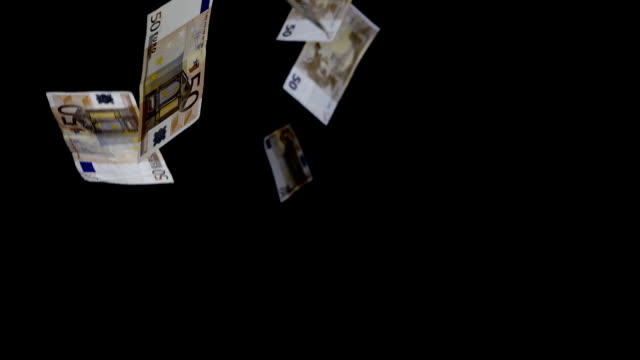 Paper Euro currency falling, black background video