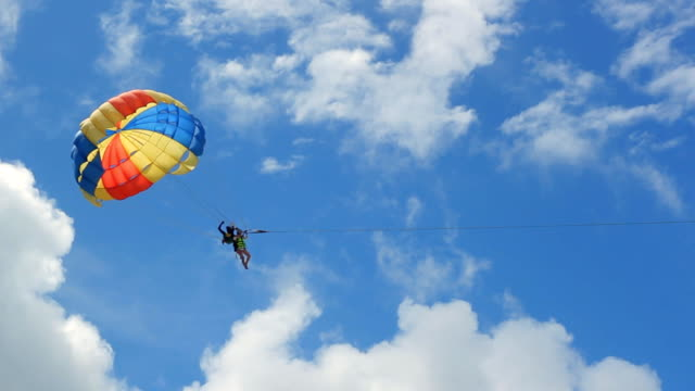 HD: Paraglider Soaring Over The Beach video