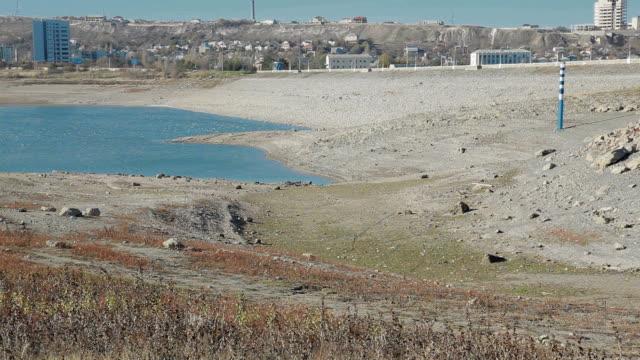 Parched reservoir during very hot summer in Simferopol, Crimea, Ukraine video