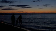 Parents and child walking by the sea in dusk video