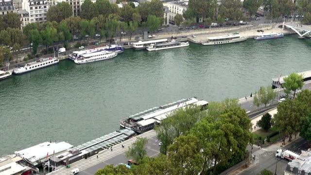 Paris aerial tilt view of Seine and bridges video