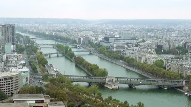 Paris aerial view of Seine and bridge video