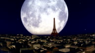 Paris And Eiffel Tower Against Big Moon video