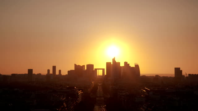 Paris La Defense at sunset video