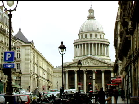 Paris Panteon with Street scene in front video