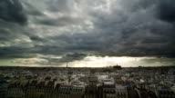 Paris rooftops scenic timelapse video