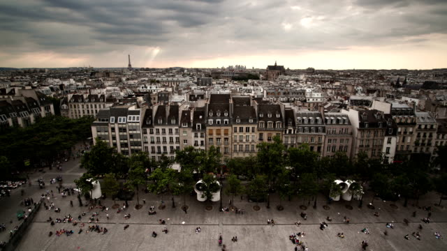 Paris skyline with people timelapse video