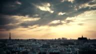 Paris skyline with sunbeams timelapse video