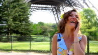 Paris, Woman talking on phone video