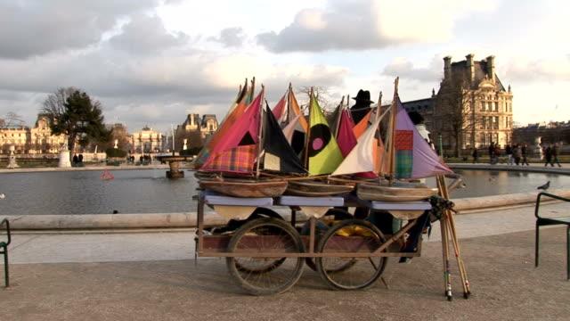 Paris, wood boat in fountain video