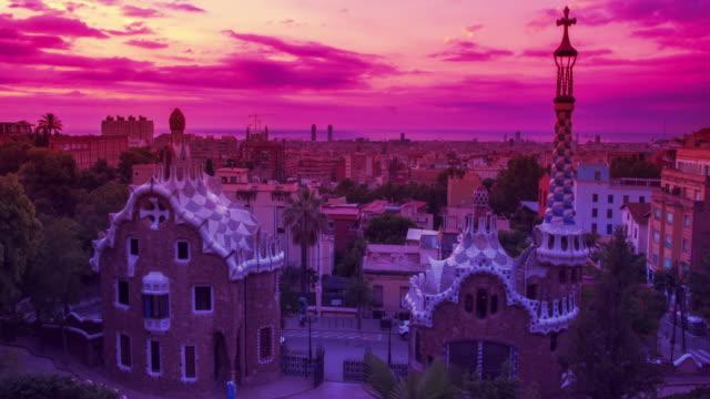 Park Guell designed by Antoni Gaudi in Barcelona. Sunrise in Barcelona video