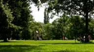 park scene, leisure summer activity, Bicycle leaning at tree video