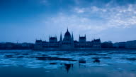 Parliament of Budapest in the winter video