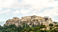 Parthenon temple on Athenian Acropolis, Athens, Greece - timelapse video